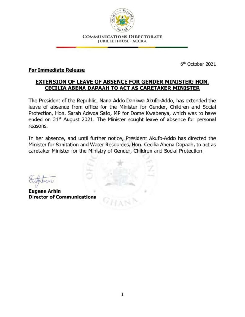 Akufo-Addo extends Gender Minister's leave; Sanitation Minister to act