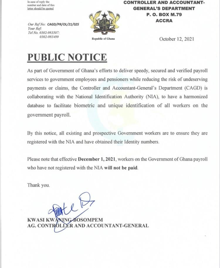 Government workers without Ghana Card won't be paid from Dec. 1
