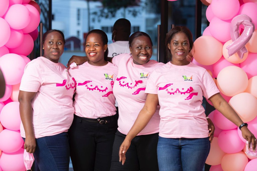 Ghana Free Zones Authority CEO leads staff on Breast Cancer awareness campaign